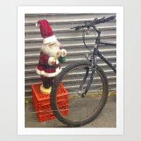 Santa Bike Brooklyn Art Print