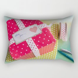 Dotted gift boxes with dotted gift band and label Rectangular Pillow
