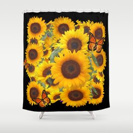 SUNFLOWER & MONARCHS IN BLACK ART Shower Curtain