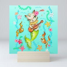 Mermaid Cat with Ukulele Mini Art Print