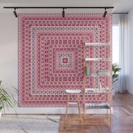 Ethnic ornament, tribal , kradratny, pink ornament Wall Mural
