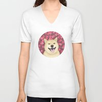 shiba V-neck T-shirts featuring pixel shiba by desks.lava