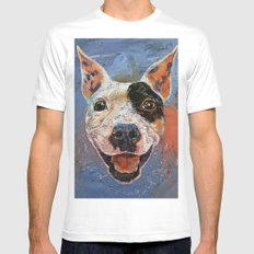 Happy Pitbull White Mens Fitted Tee MEDIUM