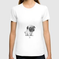 Pug Pug 01 SMALL White Womens Fitted Tee