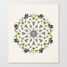 Blackbird Floral Mandala Canvas Print