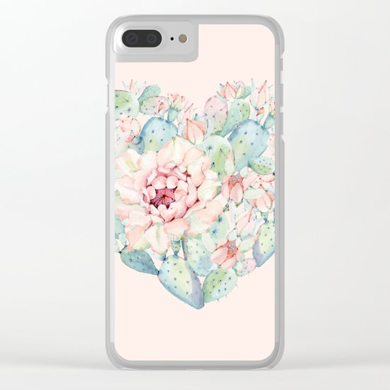 Cactus Rose Heart on Pink Clear iPhone Case