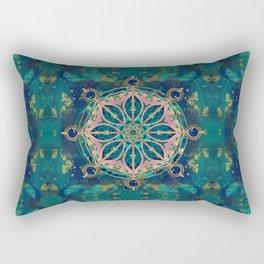 Dharma Wheel - Dharmachakra Gemstone & Gold Rectangular Pillow