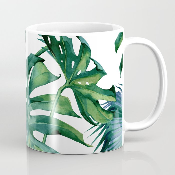 Classic Palm Leaves Tropical Jungle Green Coffee Mug