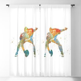American football player in watercolor Blackout Curtain
