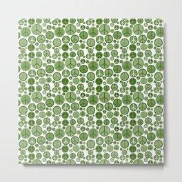 Groovy Green Peace Symbol Pattern Metal Print