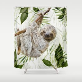 Baby Sloth Just Hangin' Around Shower Curtain