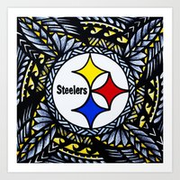 steelers Art Prints featuring New Tribal Steelers by Lonica Photography & Poly Designs