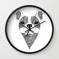 bulldog Wall Clocks featuring Bulldog  by Art & Be