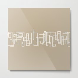 Architecture Stripe - Mid Century Modern Minimalist Geometric Pattern in White and Neutral Flax Solid Metal Print