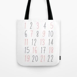 Numbers - Pink Tote Bag