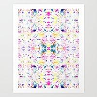 Paint Splatter - White Art Print