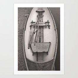 Canoe Rattan Seats Canoeing Row Boat Sepia River Ocean Sailor Island Nautical Beach Boats Vintage Fishing Art Print