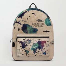Oceans Life World Map #map #worldmap Backpack