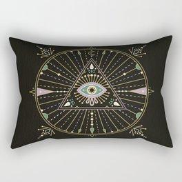 Evil Eye Mandala – Black Rectangular Pillow