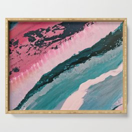 ECHO BEACH BABY | Acrylic abstract art by Natalie Burnett Art Serving Tray
