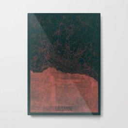 Lausanne Map Red Metal Print