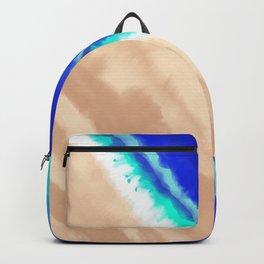 Artsy Modern Blue Teal Sandy Beach Watercolor Backpack