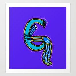 Celtic Peacock Letter G 2017 Art Print