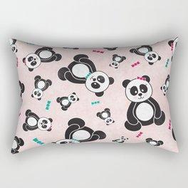 Panda Freefall in Pink Rectangular Pillow