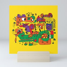 Yellow Doodle Monster World by Pablo Rodriguez (Pabzoide) Mini Art Print