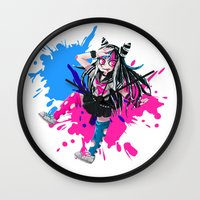 dangan ronpa Wall Clocks featuring Ibuki - Danganronpa 2 by Agui-chan
