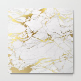 White gold marble Metal Print