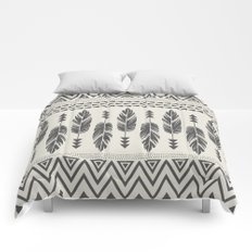 Tribal Feathers-Black & Cream Comforters