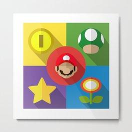Super Mario flat Metal Print