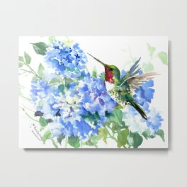Hydrangea Flowers and Ruby Throat Hummingbird Metal Print