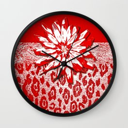 Animal Print Red and White Abstract Wall Clock