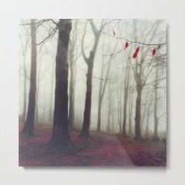 Forest in December Mist Metal Print