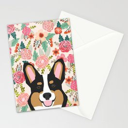 Tricolored Corgi cute corgi florals dog portrait custom dog art pet friendly dog head cell case Stationery Cards
