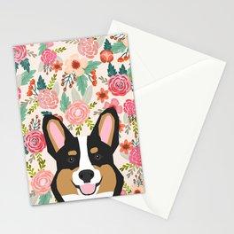 Tricolored Corgi cute corgi florals dog portrait custom dog art pet friendly dog head cell case Stationery Cards