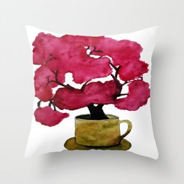 Cherry blossom Tree in Mug Throw Pillow