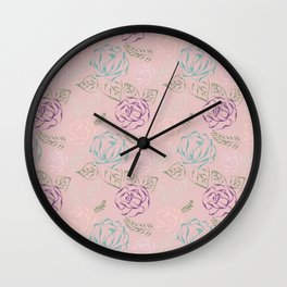 Roses, Embroidery design Wall Clock