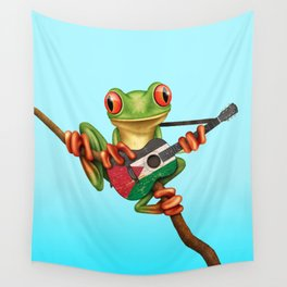 Tree Frog Playing Acoustic Guitar with Flag of Palestine Wall Tapestry