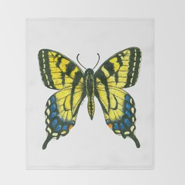 Tiger swallowtail butterfly watercolor and ink Throw Blanket