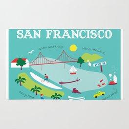San Francisco, California - Collage Illustration by Loose Petals Rug