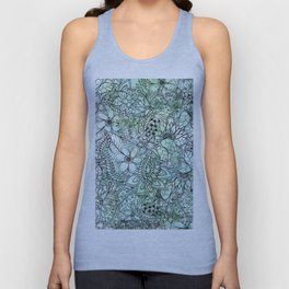Spring Turquoise green floral hand drawn illustration pattern grey watercolor Unisex Tank Top