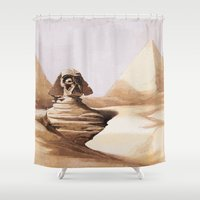 egypt Shower Curtains featuring Dark egypt by Tony Vazquez