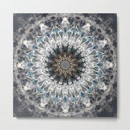 Gray, blue Mandala Metal Print