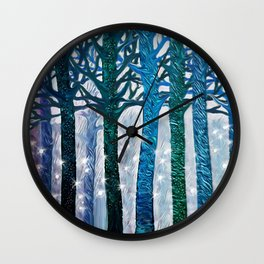 The forest of fireflies Wall Clock