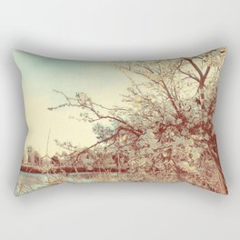 Hello Spring! (White Cherry Blossom by the Lake) Rectangular Pillow