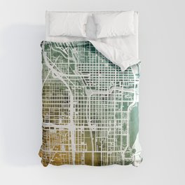 Chicago City Street Map Comforters