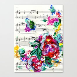 Musical Beauty - Floral Abstract - Piano Notes Canvas Print